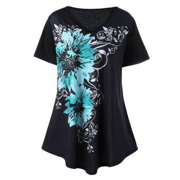 Plus Size Floral Graphic V Neck T-Shirt