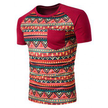 Geometric Tribal Print Crew Neck Pocket T-Shirt