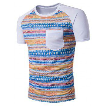 Raglan Sleeve Tribal Geometric Print Pocket T-Shirt