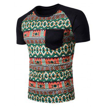 Color Block Raglan Sleeve Tribal Print Pocket T-Shirt