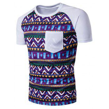 Crew Neck Tribal Printed Pocket T-Shirt