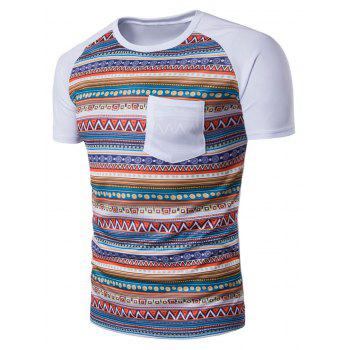 Tribal Print Raglan Sleeve Pocket T-Shirt