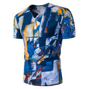 Ethnic Abstract Color Block Print Linen T-Shirt
