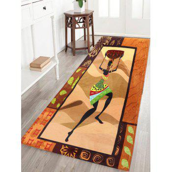 Figure Pattern Flannel Antislip African Bathroom Rug