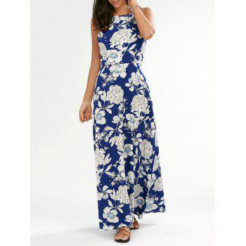 Backless Floral Maxi Evening Dress
