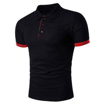 Color Block Panel Design Cotton Polo T-Shirt