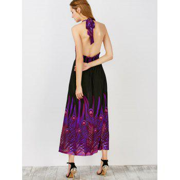 Peacock Printed Halter Open Back Maxi Dress - PURPLE L