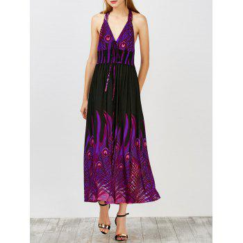 Peacock Printed Halter Open Back Maxi Dress