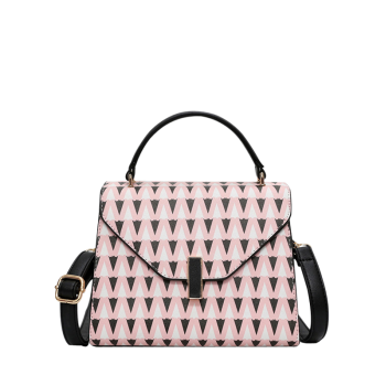 Triangle Print Faux Leather Handbag