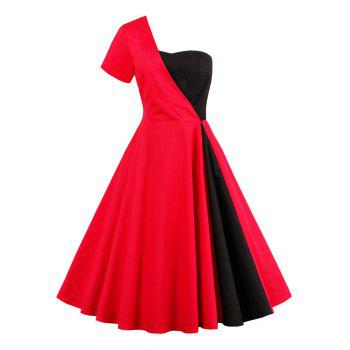 One Shoulder Two Tone Vintage Dress