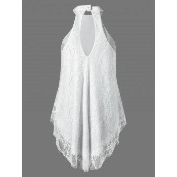Cut Out Lace Tank Top - WHITE M