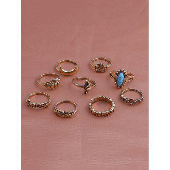 Artificial Turquoise Elephant Moon Alloy Ring Set - GOLDEN