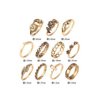 Sun Moon Star Flower Alloy Ring Set - GOLDEN