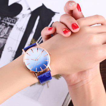 Faux Leather Strap Ombre Watch - BLUE