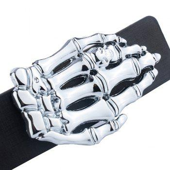 Skeleton Hand Design Plate Buckle Belt - WHITE