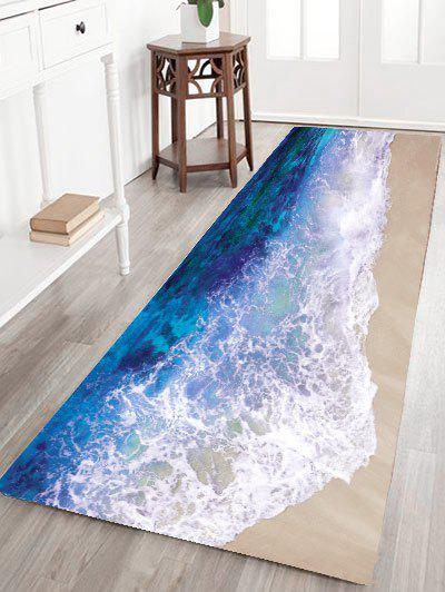 2018 tapis de bain antid rapant en flanelle motif vague marine bleu oc an pouces in tapis de. Black Bedroom Furniture Sets. Home Design Ideas