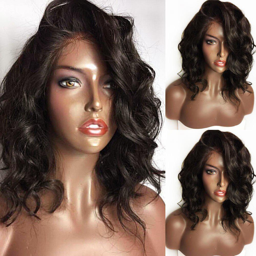 Long Curled Side Part Lace Front Synthetic Wig - BLACK/BROWN