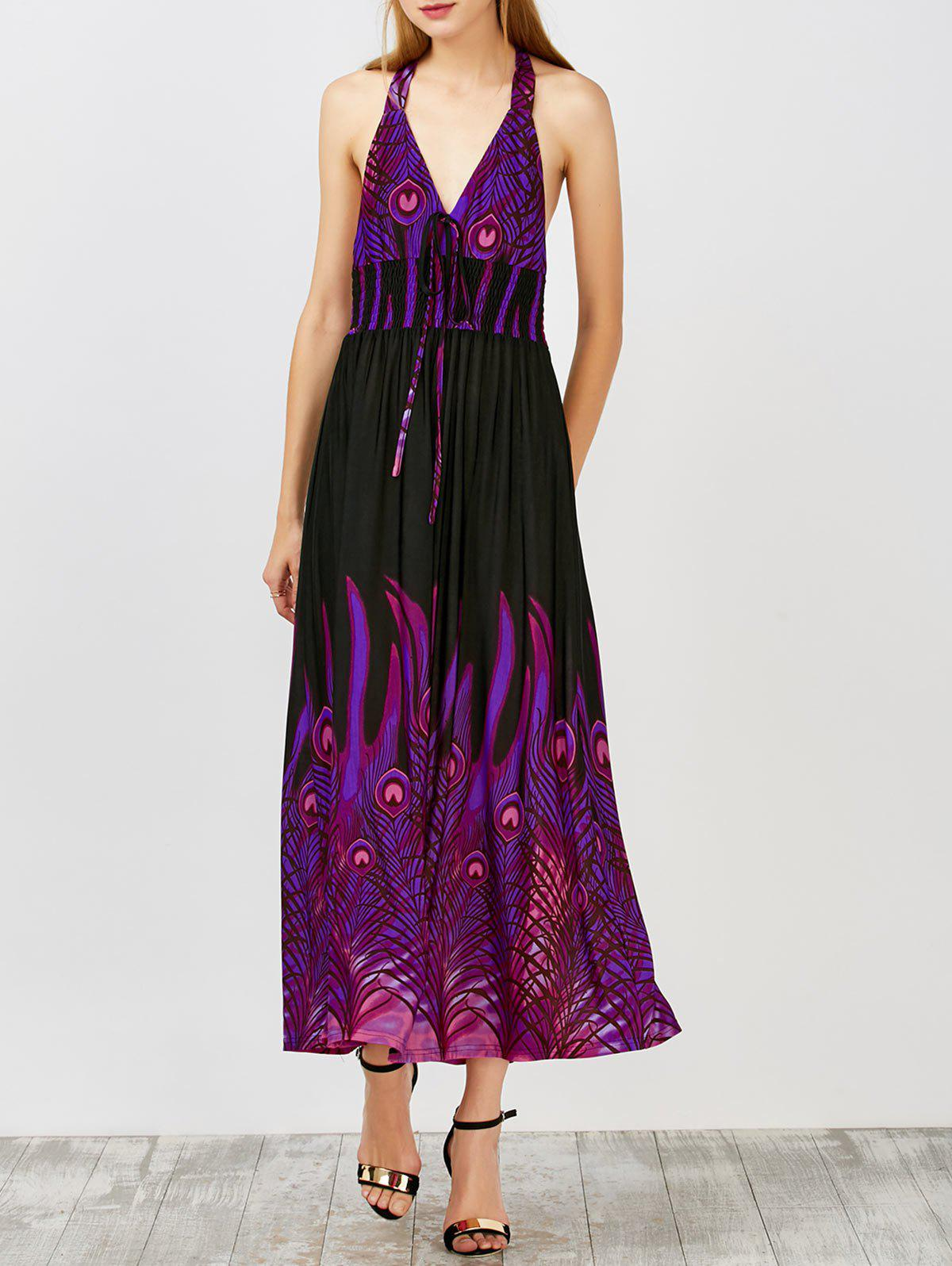 Peacock Printed Halter Open Back Maxi Dress - PURPLE M