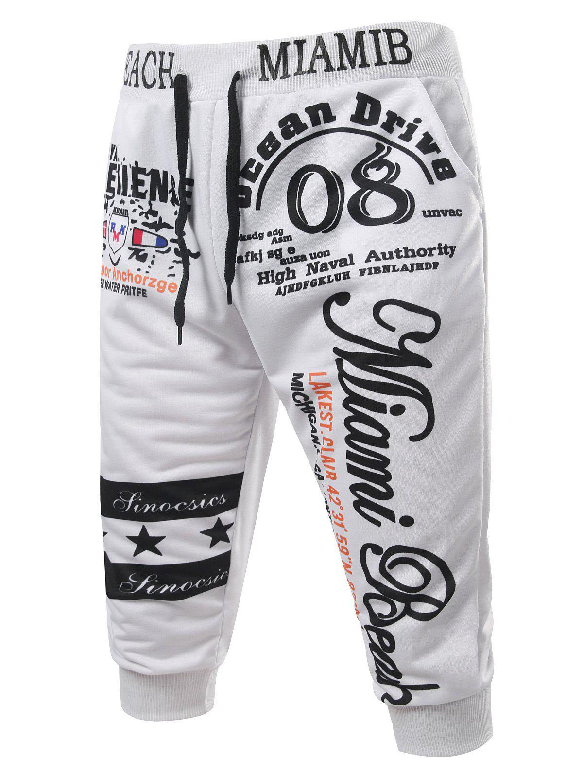 Casual Men's Lace Up Letters Printed Jogger Pants - WHITE M