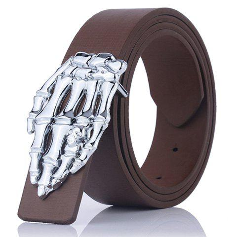 Skeleton Hand Design Plate Buckle Belt - COFFEE