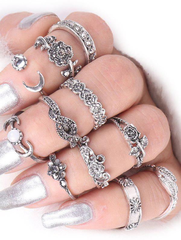 Moon Rose Flower Leaf Alloy Ring Set moon flac jeans