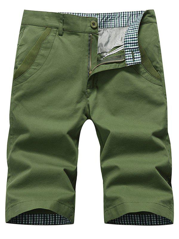 Zipper Fly Straight Chino Shorts - Vert Armée 34