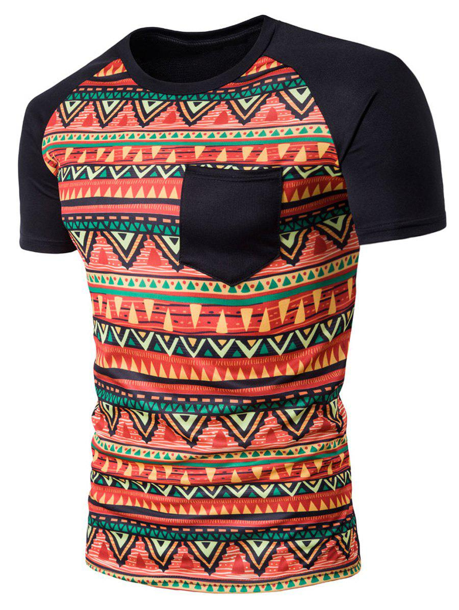 T-shirt géométrique Tribal Print Crew Neck Pocket - Noir 2XL