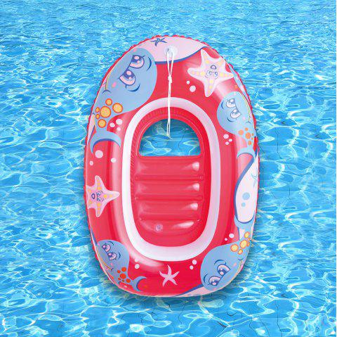 Dolphin Starfish Printed Inflatable Floating Boat - CHERRY RED