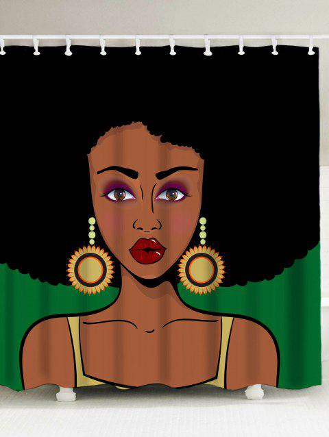 17% OFF  2019 Water Pepellent Afro Girl Shower Curtain In COLORMIX ... 18e7f231b