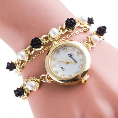 Floral Number Wrap Bracelet Watch - BLACK