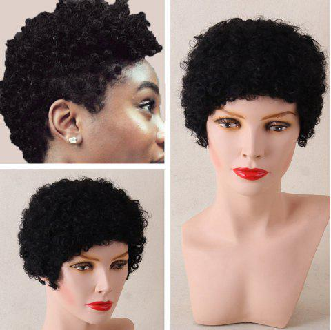 Short Afro Curly Shaggy Human Hair Wig - JET BLACK 01