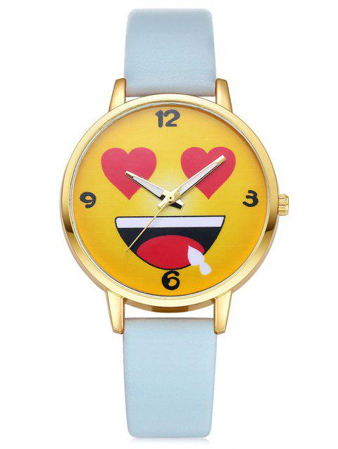 Cartoon Emoticon Face Quartz Watch - AZURE