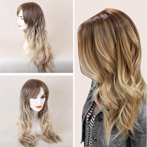 Long Oblique Bang Colormix Beach Wave cheveux humains perruque - Blanc / Gris