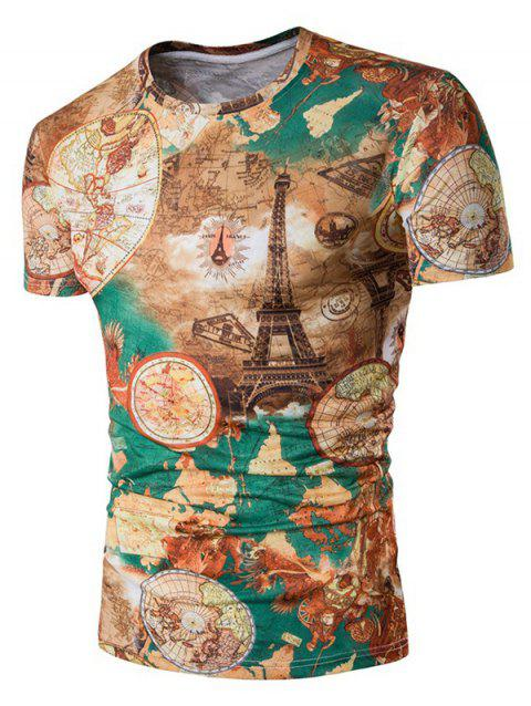 T-shirt manches courtes à manches courtes Tower Earth - multicolore 2XL