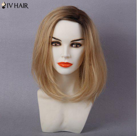 Siv Hair Colormix Shaggy Side Part Straight Bob Human Hair Wig - WHITE / GREY