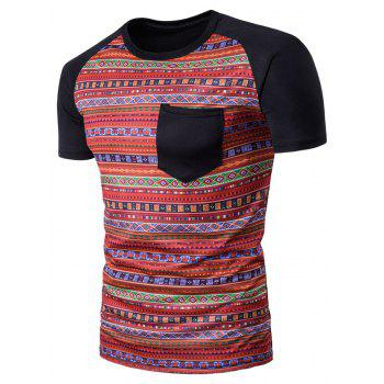 Geometric Tribal Print Color Block Pocket T-Shirt