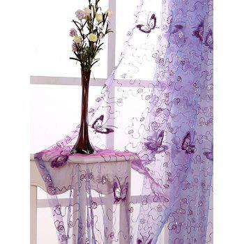Beads Sheer Sequin Butterfly Window Curtain - SUEDE ROSE W40INCH*L79INCH