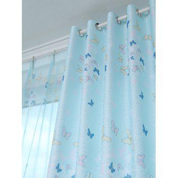 butterfly blackout window curtain light blue w inch l. Black Bedroom Furniture Sets. Home Design Ideas