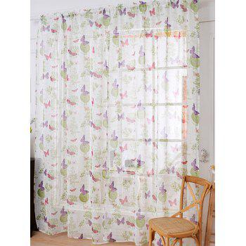 Floral Butterfly Sheer Window Curtain