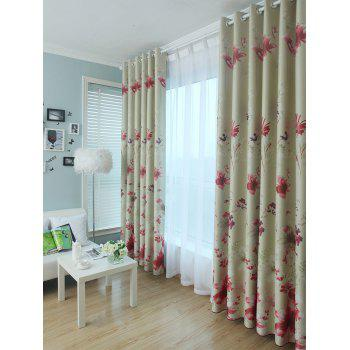 Blackout Floral Window Curtain - RED W40INCH*L79INCH