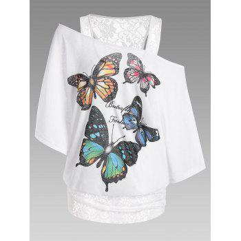 Lace Panel Oversized Butterfly Print Tee