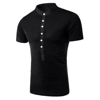 Splicing Design Stand Collar Short Sleeve Men's T-Shirt