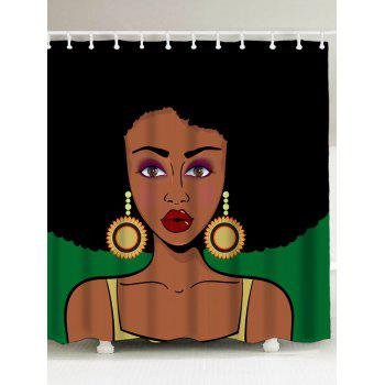 Water Pepellent Afro Girl Shower Curtain