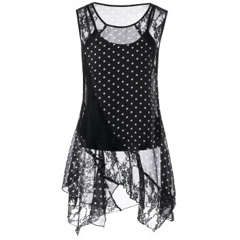 Polka Dot Lace Insert Handkerchief Blouse With Tank Top