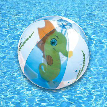 Transparent Inflatable Beach Ball with Animal Inside - YELLOW YELLOW