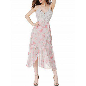 Lace Panel Chiffon Floral Midi Slip Club Dress