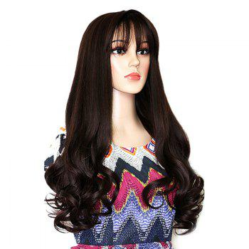 Long Botton Wavy Neat Bang Synthetic Party Wig