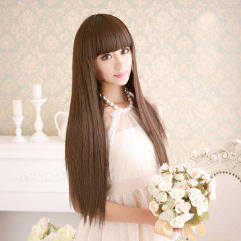 Long Full Bang Silky Straight Dyeable Synthetic Party Wig