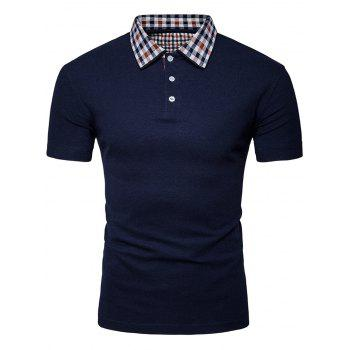 Plaid Collar Half Button Polo Shirt