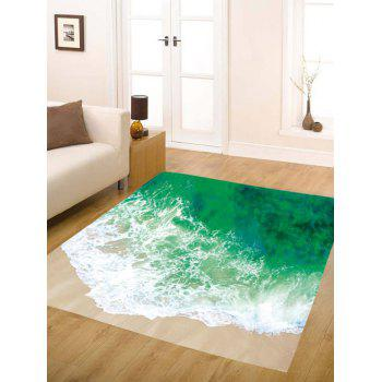 Sea Tide Print Skidproof Flannel Water Absorb Bath Rug